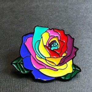 Rainbow Rose Enamel Pin Backpack Pin Tie Tack